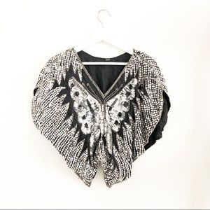 Tops - Butterfly sequin shirt vintage silver
